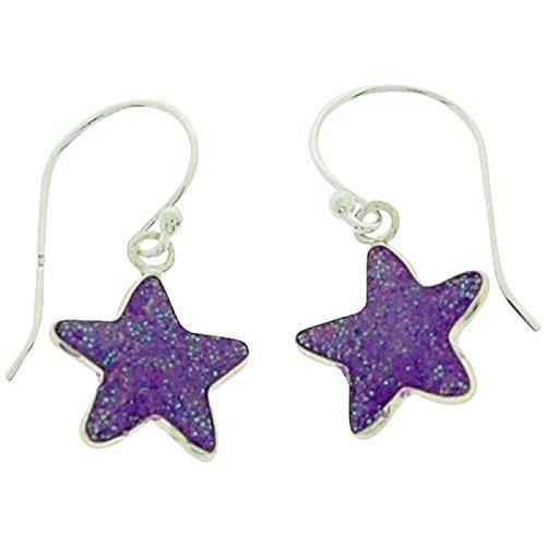 Sterling Silver Euro Hook Earrings (TOC Girls Sterling Silver Purple Glittery Resin Star Drop Earrings 11mm)