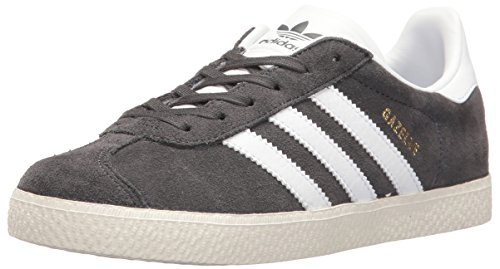 adidas Originals Boys' Gazelle J Sneaker, Dark Solid Grey/White/Metallic Gold, 6.5 Medium US Big Kid