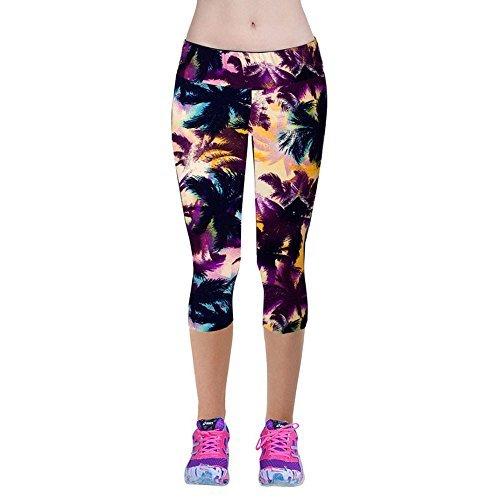 Price comparison product image CreazyDog® High Waist Fitness Yoga Sport Pants Stretch Cropped Leggings (Purple,  M)