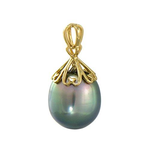 Paialco Dainty 18k Yellow Gold Cultured Tahitian Black Pearl Pendant 9-10MM ()