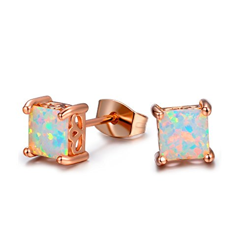 VOLUKA 6mm Square Shape Opal Stud Earrings with Rose Gold Plated for Women and Girls