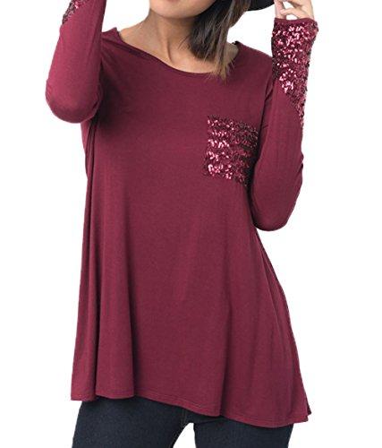 Rond Tees Automne Casual Fashion Longues Shirts Hiver Vin Chemisiers Rouge Tunique Paillettes Jumpers Tops Legendaryman Manches pissure Col Femmes Hauts et Blouse 6dq6C8w