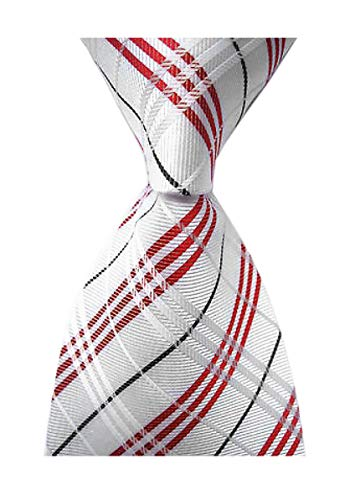 Secdtie Men's Classic Checks White Red Jacquard Woven Silk Tie Formal Necktie