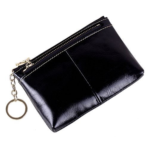 Triple Keyring Card Holder Leather Card Case for Coins with Zipper Pocket