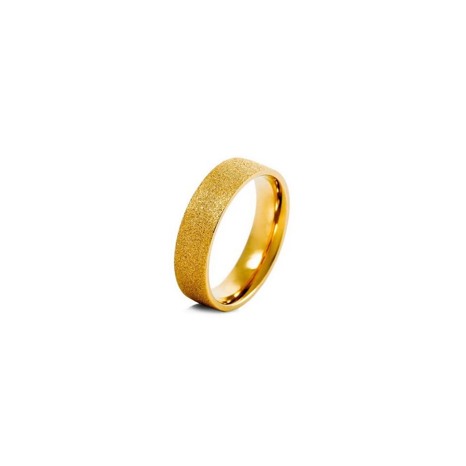 MENS Gold Stainless Steel Scrub Rings Wedding Band Size 8