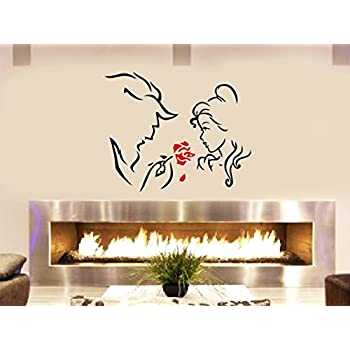 Beauty The Beast And The Red Rose Livingroom Bedroom Fireplace Wall Window  Decoration Decal Sticker Approx Part 77