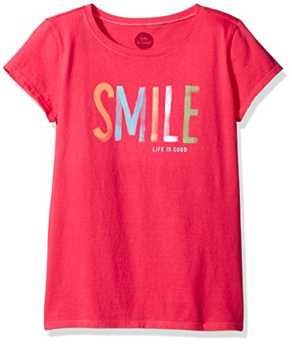 (Life is good Girls Smile Painted Tee, Pop Pink, Small)