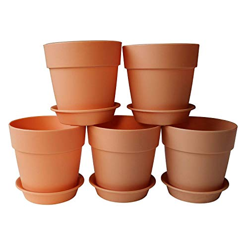 (Axe Sickle 3.9x3.5 inch Plastic Planters Small Plastic Plant Pots, Indoor Flower Pot, Plant Pot, Mini Flower Seedlings Nursery Pot, Flower Pot with Pallet (6pcs)