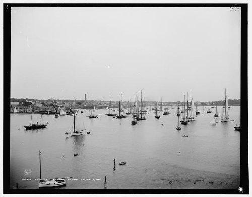 Photo: NYYC nimble,New York Yacht Club,boats,ships,Newport harbor,Rhode Island,RI,1888