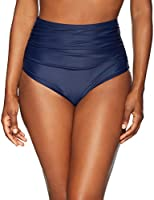 Coastal Blue Women's Swimwear Shirred High Waist Bikini Bottom, New Navy, XS