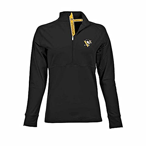 NHL Pittsburgh Penguins Women's Harmony Signature Script Half Zip, Medium, Black - Pittsburgh Penguins Jacket