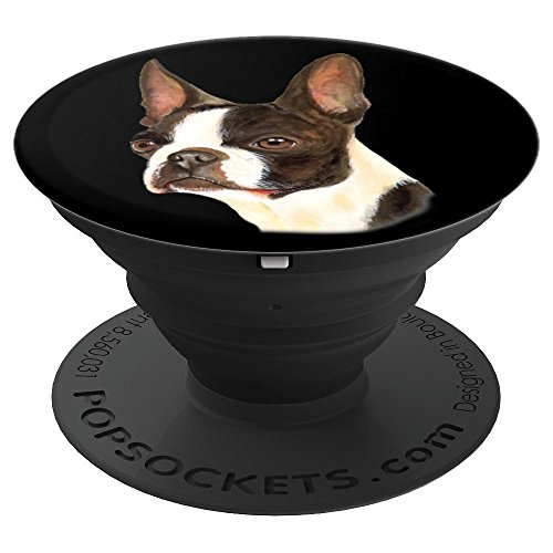 Loveable Boston Terrier Dog Owner Portrait Art Design Gift - PopSockets Grip and Stand for Phones and Tablets