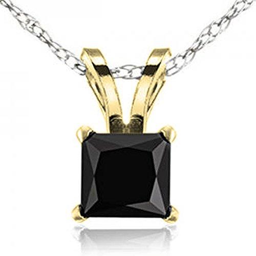 (1.00 Carat (ctw) 14K Yellow Gold Princess Cut Black Diamond Ladies Solitaire Pendant 1 CT)