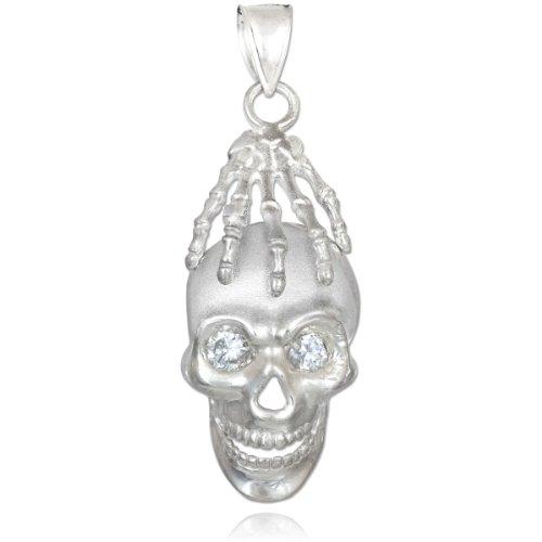 Petits Merveilles D'amour - 10 ct 471/1000 Or Crâne Blanc et main vierges Oxyde de Zirconium Pendentif Collier Eye (Livré avec un 45 cm Chaîne)