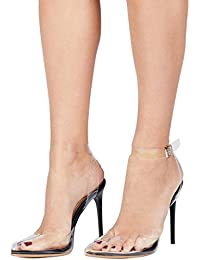 Women Pointed Toe Transparent High Heels Lucite Clear Dress Sandals Ankle Strappy Bukle Stilettos