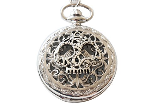 Ancient Silver Skull Mask Pocket Watch Necklace with (Skull Mask Ancient)