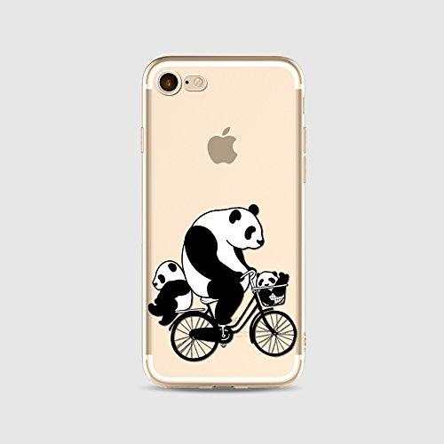 TPU silicone Housse Coque Pour iPhone 5 iPhone 5S iPhone SE, Ruirs Nice coloré d'impression Pandas mignons ultra-transparent transparent TPU téléphone étui pour iPhone 5 iPhone 5S iPhone SE(Pandas rid