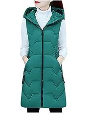 Briskorry Dames lang vest met capuchon donsvest met zakken winter warm donsjas outdoor gewatteerd vest effen oversized vest mouwloos licht lang vest vest vest