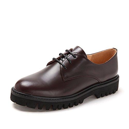 Resorte simple dedo del pie redondo/Guapo con zapatos planos borgoña