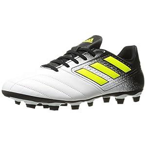 adidas Originals Men's Ace 17.4 FxG Soccer Shoe, White/Solar Yellow/Black, 8.5 Medium US