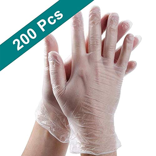 200PCS Disposable Plastic Gloves/Clear Polyethylene Gloves/Work Gloves/Plastic Disposable Food Prep Glove/For Cooking…