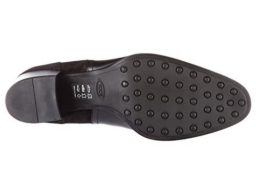 Tod's demi bottes femme à talon en cuir tronchetto noir