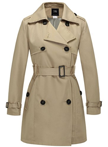 Tan Double Breasted Belt Trench - ZSHOW Women's Thigh-Length Front Wrap Trench Coat with Removable Belt US Small Khaki