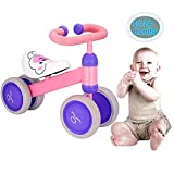 Ewoki Baby Walker Balance Bikes Bicycle Toy for Children 10-24 Months,Outdoor Toddler Bike for1 Year Old Boys Girls No Pedal Infant 4 Wheels First Birthday Gift(Pink)
