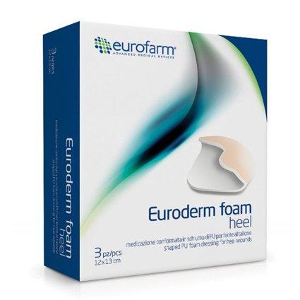 Nueva euroderm espuma herida apósito tacón: 3 pcs. hydrocellular de varias capas con forma de espuma de poliuretano para gestión de heridas en el talón o ...