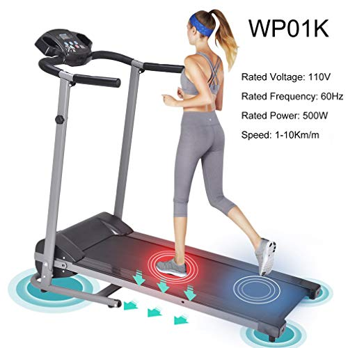 OUTAD Folding Treadmill, Electric Treadmill with LED Display Mini Silent Home Motorized Running Machine Gym Exercise Fitness