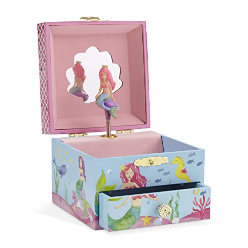 JewelKeeper Mermaid Girl's Musical Jewelry Box, Underwater Design Pullout Drawer, Over The Waves Tune by JewelKeeper