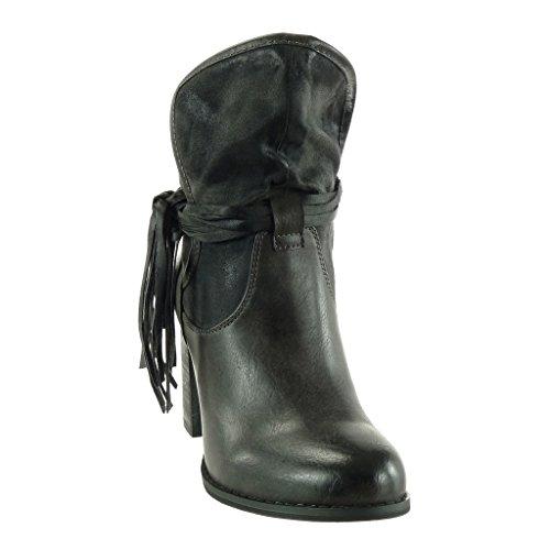 Botines mujer de Zapatos suave alto 9 caballeros correas Gris bi Angkorly para CM Botín flecos moda material 5 tacón múltiples Bloque C1qXnw5x