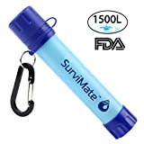 hiking water filter straw SurviMate Portable Water Filter Straw and Survival Kit or Emergency Camping 2-Stage Integrated Camping Hiking Travel Water Filter