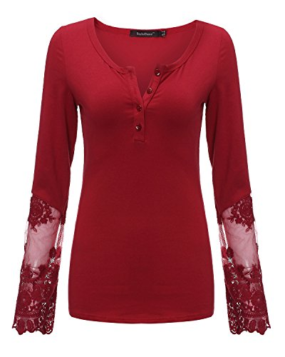 StyleDome Women's Lace Long Sleeve Cotton Button Neck Blouse Shirt Tops