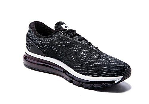 Onemix Air Zapatillas de deporte Zapatos deportivos de los planos atléticas ocasionales de la malla respirable del de las mujeres Negro / blanco