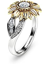 Sunflower Cubic Zirconia Ring with Side Stone Copper Leaf Eternity Band for Women