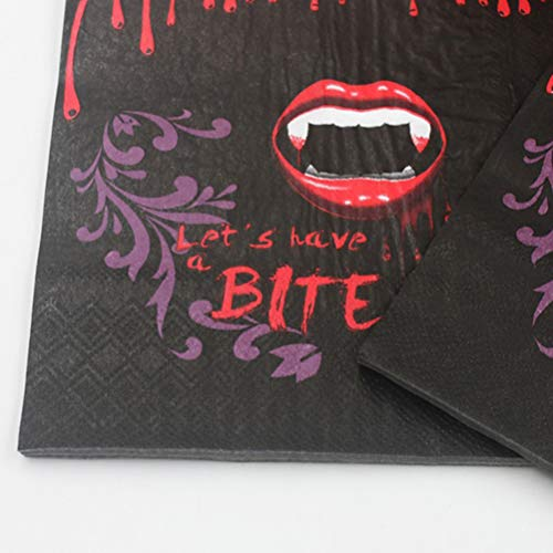 Amosfun 100pcs Halloween Printed Napkins Disposable Tissue Bloody Red Lip Teeth Pattern Theme Party Napkins Supplies by Amosfun (Image #3)