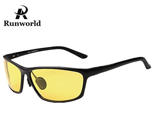 Runworld Mens HD Night View Night Vision Anti-glare Non-polarized & Polarized Wayfarer Avaitor Rimless Wraparound Wrap around Driver's Yellow Driving Glasses Sunglasses Goggles - Wrap Sunglasses Metal Around