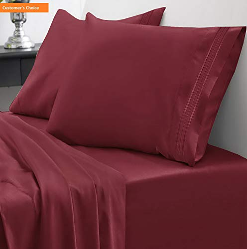 Sheet Chicago Set Bears Full (Mikash 1800 Thread Count Sheet Set - Soft Egyptian Quality Brushed Microfiber Hypoallergenic Sheets - Luxury Bedding Set with Flat Sheet, Fitted Sheet, 2 Pillow Cases, Full, Burgundy | Style 84597024)