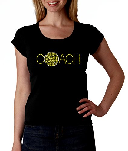 Tennis Coach Coaching RHINESTONE T-Shirt Shirt Tee Bling - Ball Match Raquet Singles Doubles Sports Sport Leader Captain Mentor