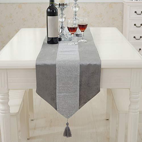 Camino de mesa moderno de Matedepreso - Duradero franela de poliester con brillantes - Camino de mesa lavable (32 180 cm), color gris, gris, 32 180cm
