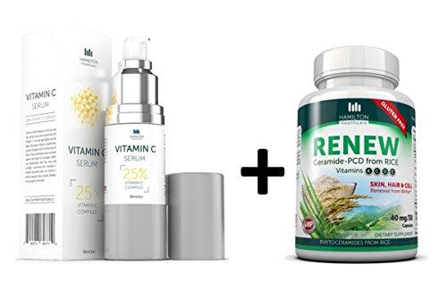 Liste déroulante vitamine C sérum + Phytoceramides «renouveler» supplément pour la peau, des cheveux et des ongles par Healthcare de Hamilton