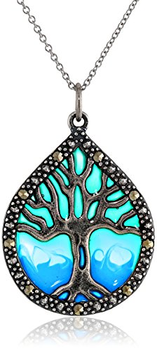Tree of Life Pendant Necklace Sterling Silver Marcasite Epoxy 18 Inch
