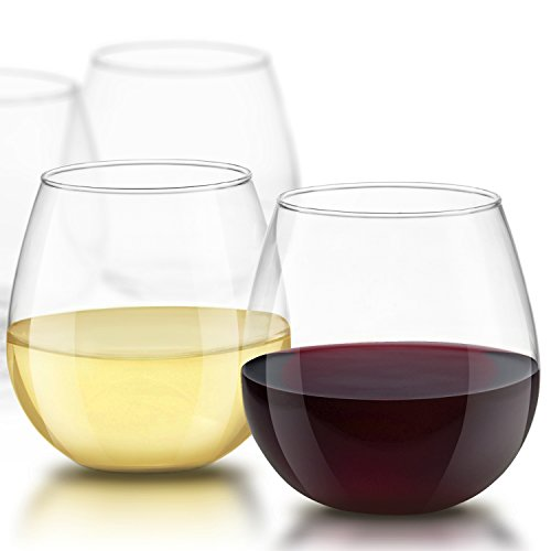 JoyJolt Spirits Stemless Wine Glasses 15 Ounce, Set of 4 Great For White Or Red Wine Mother's Day Wine Gifts Wines Glass Sets (Patio Cristal Para)
