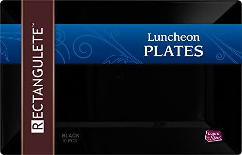 - Rectangulete 12'' Rectangle Black Luncheon - Dinner Party Plates, Disposable, Hard Plastic, Elegant Party Plates. 10 Black Luncheon - Dinner Plates Per Package
