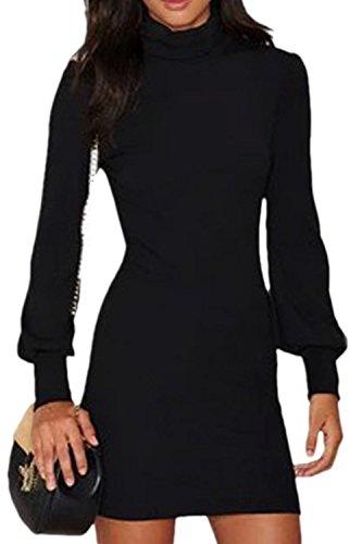 La Mujer Casual Cuello Alto De Punto Manga Puff Vestido Bodycon Mini Slim Obispo negro