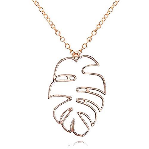 RUIZHEN Geometric Hollow Monstera Leaf Pendant Necklace Palm Tree Summer Jewelry (Gold)