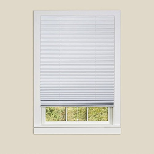 "6 Pack ""1-2-3 Shade"" White Vinyl Room Darkening Temporary Pleated Shades 48"" Wide X 75"" Long"