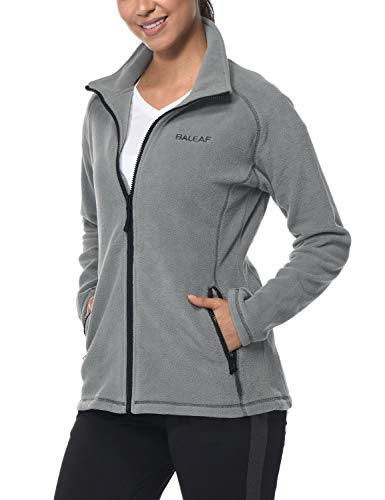 Baleaf Women's Fleece Jacket Full Zip Thermal Running Outwears Inner Pockets Gray XS ()