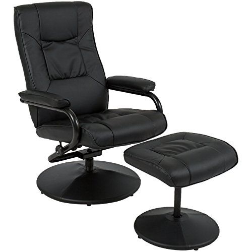 Best Choice Products Leather Swivel Recliner Chair With Footrest Stool Ottoman (Set Ottoman Reclining)